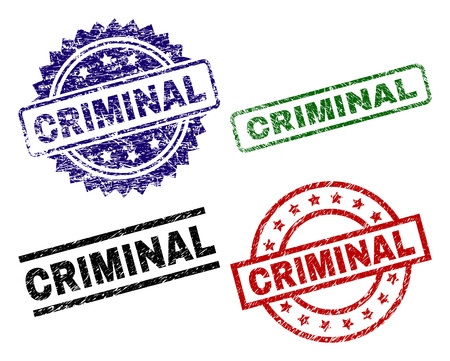 CRIMINAL seal prints with distress surface. Black, green,red,blue vector rubber prints of CRIMINAL caption with retro surface. Rubber seals with circle, rectangle, medal shapes. Illustration