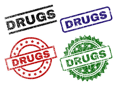 DRUGS seal prints with corroded surface. Black, green,red,blue vector rubber prints of DRUGS label with grunge surface. Rubber seals with circle, rectangle, medal shapes.