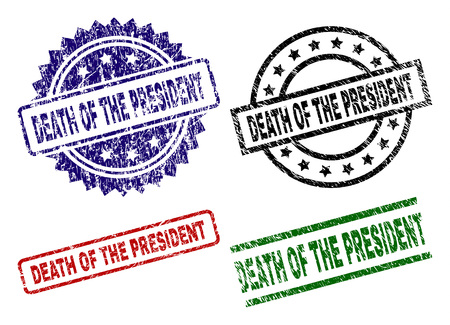 DEATH OF THE PRESIDENT seal imprints with corroded surface. Black, green,red,blue vector rubber prints of DEATH OF THE PRESIDENT text with corroded surface. Rubber seals with circle, rectangle, Ilustracja