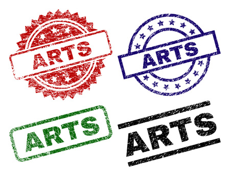 ARTS seal stamps with damaged surface. Black, green,red,blue vector rubber prints of ARTS label with corroded surface. Rubber seals with round, rectangle, medal shapes.