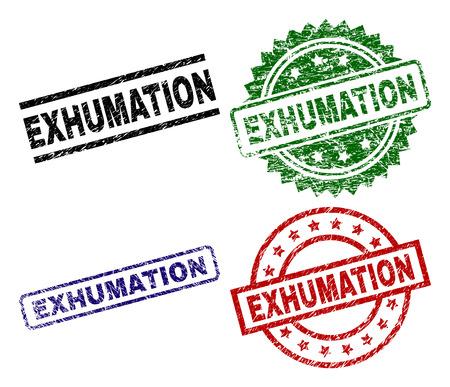 EXHUMATION zegel afdrukken met gecorrodeerde textuur. Zwart, groen, rood, blauw vector rubber prints van EXHUMATION tekst met gecorrodeerde textuur. Rubberen afdichtingen met cirkel-, rechthoek- en rozetvormen.