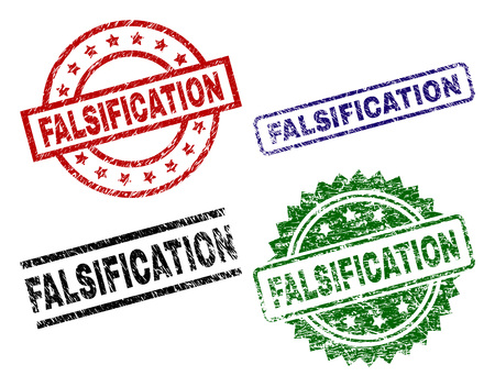 FALSIFICATION seal prints with corroded texture. Black, green,red,blue vector rubber prints of FALSIFICATION text with unclean surface. Rubber seals with round, rectangle, rosette shapes.