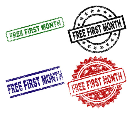 FREE FIRST MONTH seal prints with damaged surface. Black, green,red,blue vector rubber prints of FREE FIRST MONTH caption with grunge surface. Rubber seals with circle, rectangle, medallion shapes. 일러스트