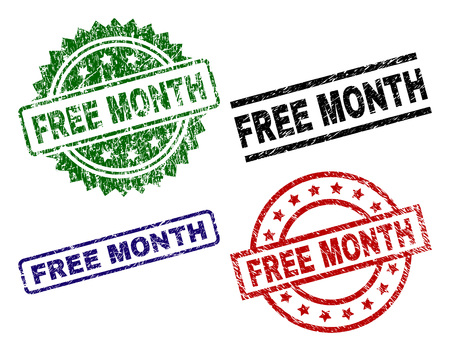 FREE MONTH seal prints with distress texture. Black, green,red,blue vector rubber prints of FREE MONTH tag with grunge texture. Rubber seals with round, rectangle, medal shapes.