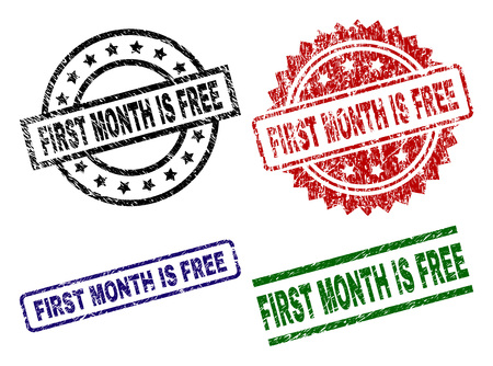 FIRST MONTH IS FREE seal prints with damaged texture. Black, green,red,blue vector rubber prints of FIRST MONTH IS FREE tag with dirty style. Rubber seals with circle, rectangle, rosette shapes.