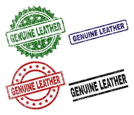 GENUINE LEATHER seal prints with corroded texture. Black, green,red,blue vector rubber prints of GENUINE LEATHER text with corroded style. Rubber seals with round, rectangle, rosette shapes.