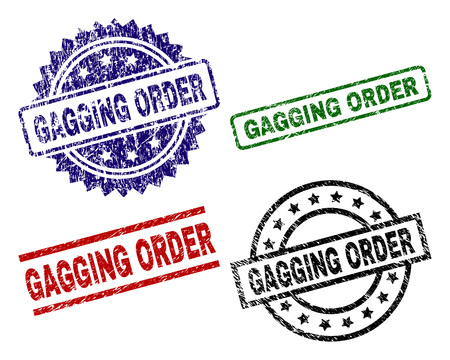 GAGGING ORDER seal prints with damaged style. Black, green,red,blue vector rubber prints of GAGGING ORDER label with grunge style. Rubber seals with circle, rectangle, medal shapes.