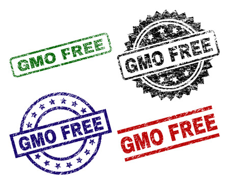 GMO FREE seal prints with damaged texture. Black, green,red,blue vector rubber prints of GMO FREE label with unclean style. Rubber seals with round, rectangle, rosette shapes.