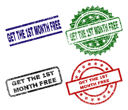 GET THE 1ST MONTH FREE seal prints with damaged style. Black, green,red,blue vector rubber prints of GET THE 1ST MONTH FREE label with unclean style. Rubber seals with round, rectangle, Illustration