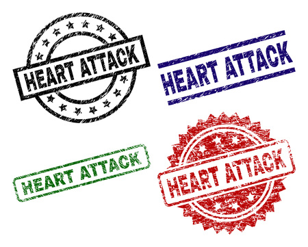 HEART ATTACK seal prints with corroded texture. Black, green,red,blue vector rubber prints of HEART ATTACK label with corroded style. Rubber seals with circle, rectangle, medal shapes. Ilustración de vector