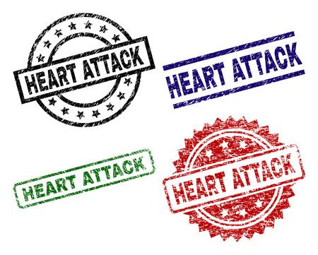 HEART ATTACK-zegelafdrukken met gecorrodeerde textuur. Zwarte, groene, rode, blauwe vectorrubberafdrukken van HEART ATTACK-label met gecorrodeerde stijl. Rubberen afdichtingen met cirkel, rechthoek, medaillevormen. Vector Illustratie