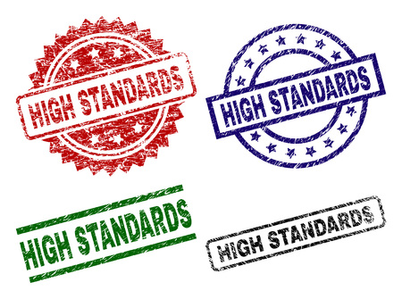 HIGH STANDARDS seal prints with corroded style. Black, green,red,blue vector rubber prints of HIGH STANDARDS title with scratched style. Rubber seals with round, rectangle, medal shapes. Illustration