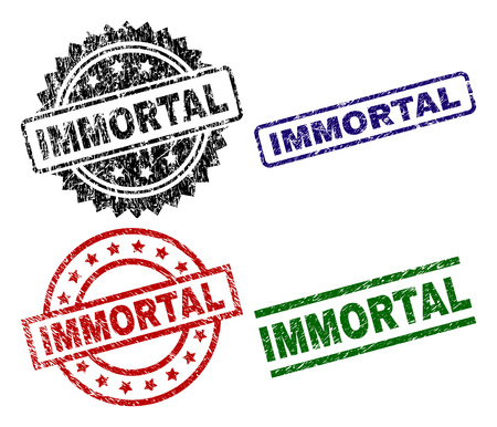 IMMORTAL seal prints with distress surface. Black, green,red,blue vector rubber prints of IMMORTAL caption with grunge surface. Rubber seals with round, rectangle, medal shapes. 向量圖像