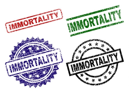 IMMORTALITY seal prints with damaged style. Black, green,red,blue vector rubber prints of IMMORTALITY text with scratched style. Rubber seals with round, rectangle, medal shapes.