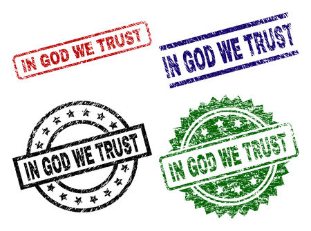 IN GOD WE TRUST seal prints with distress style. Black, green,red,blue vector rubber prints of IN GOD WE TRUST title with dust style. Rubber seals with circle, rectangle, medal shapes.