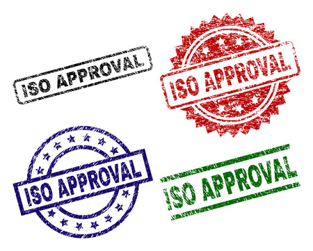 ISO APPROVAL seal prints with distress style. Black, green,red,blue vector rubber prints of ISO APPROVAL text with dust style. Rubber seals with round, rectangle, rosette shapes.