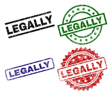 LEGALLY seal prints with distress texture. Black, green,red,blue vector rubber prints of LEGALLY text with grunge texture. Rubber seals with circle, rectangle, medallion shapes.
