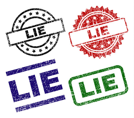 LIE seal imprints with corroded surface. Black, green,red,blue vector rubber prints of LIE label with corroded surface. Rubber seals with circle, rectangle, medallion shapes.