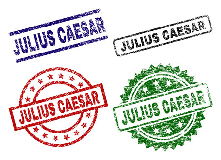 JULIUS CAESAR seal prints with corroded style. Black, green,red,blue vector rubber prints of JULIUS CAESAR caption with dust style. Rubber seals with circle, rectangle, medal shapes. Illustration