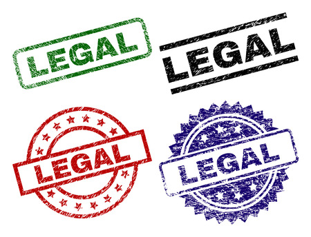 LEGAL seal prints with damaged texture. Black, green,red,blue vector rubber prints of LEGAL text with scratched texture. Rubber seals with round, rectangle, rosette shapes.