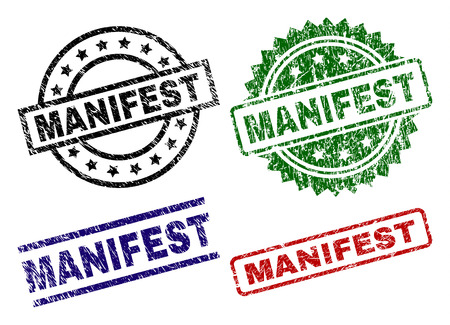 MANIFEST seal prints with damaged style. Black, green,red,blue vector rubber prints of MANIFEST text with grunge style. Rubber seals with circle, rectangle, medallion shapes. Illustration