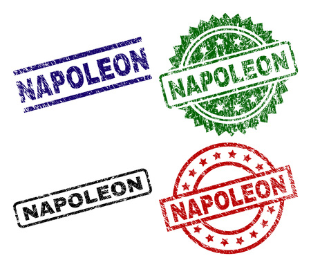 NAPOLEON seal prints with distress texture. Black, green,red,blue vector rubber prints of NAPOLEON caption with corroded texture. Rubber seals with round, rectangle, medallion shapes.