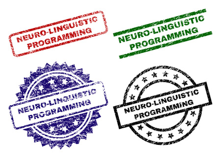 NEURO-LINGUISTIC PROGRAMMING seal prints with corroded surface. Black, green,red,blue vector rubber prints of NEURO-LINGUISTIC PROGRAMMING caption with retro surface. Rubber seals with circle, Vektorové ilustrace
