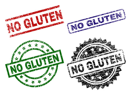 NO GLUTEN seal prints with distress style. Black, green,red,blue vector rubber prints of NO GLUTEN label with dirty style. Rubber seals with circle, rectangle, medal shapes.