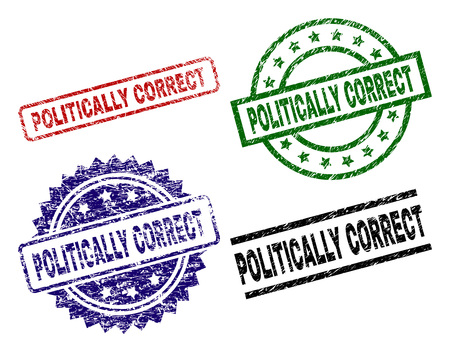 POLITICALLY CORRECT seal prints with damaged style. Black, green,red,blue vector rubber prints of POLITICALLY CORRECT title with dust texture. Rubber seals with round, rectangle, medallion shapes.