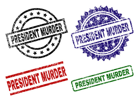 PRESIDENT MURDER seal prints with corroded texture. Black, green,red,blue vector rubber prints of PRESIDENT MURDER caption with corroded surface. Rubber seals with circle, rectangle, medallion shapes.
