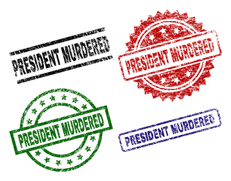 PRESIDENT MURDERED seal prints with damaged surface. Black, green,red,blue vector rubber prints of PRESIDENT MURDERED title with corroded texture. Rubber seals with round, rectangle, medal shapes.