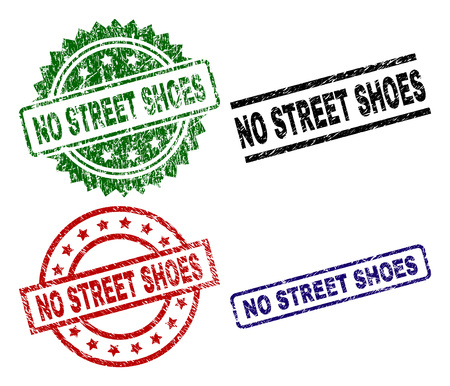 NO STREET SHOES seal prints with damaged surface. Black, green,red,blue vector rubber prints of NO STREET SHOES caption with unclean texture. Rubber seals with circle, rectangle, rosette shapes.