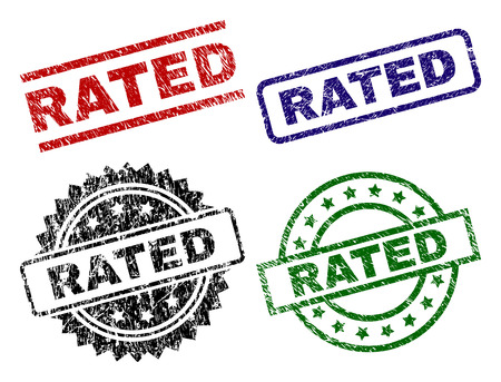 RATED seal prints with damaged style. Black, green,red,blue vector rubber prints of RATED tag with dirty style. Rubber seals with round, rectangle, medal shapes. Vektoros illusztráció
