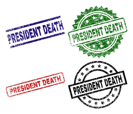 PRESIDENT DEATH seal stamps with corroded texture. Black, green,red,blue vector rubber prints of PRESIDENT DEATH label with corroded texture. Rubber seals with round, rectangle, medallion shapes.  イラスト・ベクター素材