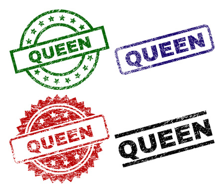 QUEEN seal prints with corroded surface. Black, green,red,blue vector rubber prints of QUEEN tag with scratched surface. Rubber seals with round, rectangle, medal shapes.