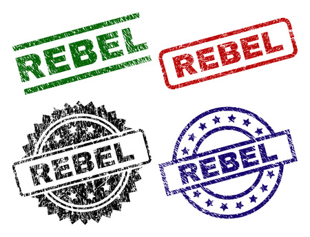 REBEL seal prints with corroded surface. Black, green,red,blue vector rubber prints of REBEL caption with corroded surface. Rubber seals with circle, rectangle, rosette shapes.