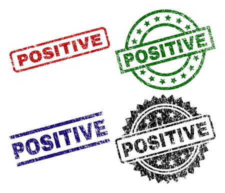 POSITIVE seal prints with distress surface. Black, green,red,blue vector rubber prints of POSITIVE title with grunge surface. Rubber seals with round, rectangle, medallion shapes.