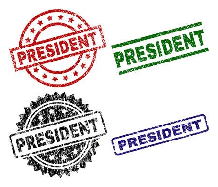 Impresiones de sellos PRESIDENT con superficie corroída. Impresiones de goma de vector negro, verde, rojo, azul del título de PRESIDENTE con superficie corroída. Sellos de goma con forma de círculo, rectángulo, medallón. Ilustración de vector