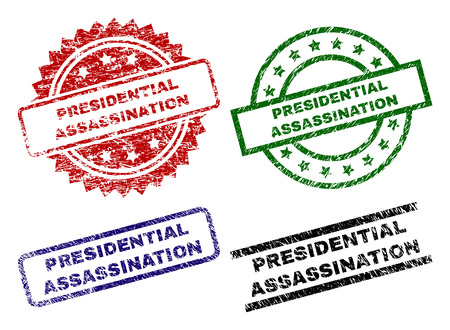 PRESIDENTIAL ASSASSINATION seal prints with damaged texture. Black, green,red,blue vector rubber prints of PRESIDENTIAL ASSASSINATION title with dust surface. Rubber seals with round, rectangle, Illustration