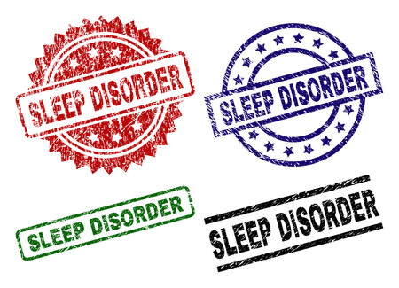 SLEEP DISORDER seal prints with corroded texture. Black, green,red,blue vector rubber prints of SLEEP DISORDER caption with scratched texture. Rubber seals with round, rectangle, medallion shapes.