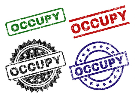 OCCUPY seal stamps with corroded texture. Black, green,red,blue vector rubber prints of OCCUPY text with corroded style. Rubber seals with circle, rectangle, rosette shapes.