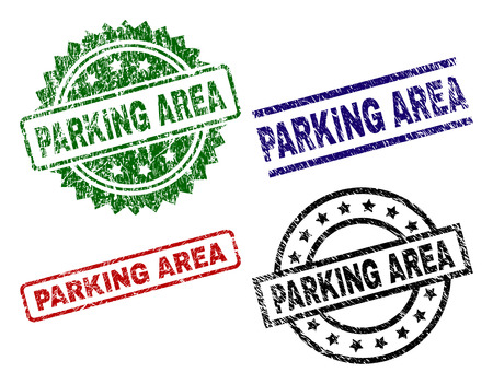 PARKING AREA seal prints with corroded texture. Black, green,red,blue vector rubber prints of PARKING AREA title with corroded surface. Rubber seals with circle, rectangle, medallion shapes. Illustration