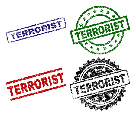 TERRORIST seal prints with damaged surface. Black, green,red,blue vector rubber prints of TERRORIST label with retro surface. Rubber seals with circle, rectangle, medal shapes. Vectores
