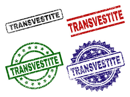 TRANSVESTITE seal prints with distress style. Black, green,red,blue vector rubber prints of TRANSVESTITE text with unclean style. Rubber seals with round, rectangle, medal shapes. Illustration