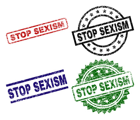 STOP SEXISM seal prints with distress surface. Black, green,red,blue vector rubber prints of STOP SEXISM caption with dust surface. Rubber seals with circle, rectangle, medal shapes.