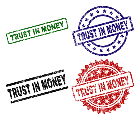 TRUST IN MONEY seal prints with corroded texture. Black, green,red,blue vector rubber prints of TRUST IN MONEY title with scratched style. Rubber seals with circle, rectangle, medallion shapes.