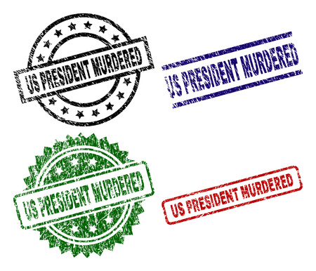 US PRESIDENT MURDERED seal prints with damaged texture. Black, green,red,blue vector rubber prints of US PRESIDENT MURDERED tag with retro texture. Rubber seals with round, rectangle, Stock Illustratie