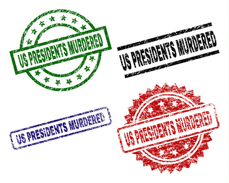 US PRESIDENTS MURDERED seal prints with corroded surface. Black, green,red,blue vector rubber prints of US PRESIDENTS MURDERED tag with corroded style. Rubber seals with round, rectangle,