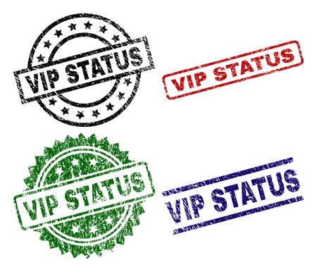 VIP STATUS seal prints with corroded style. Black, green,red,blue vector rubber prints of VIP STATUS text with corroded style. Rubber seals with round, rectangle, rosette shapes.