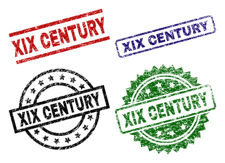 XIX CENTURY seal prints with corroded surface. Black, green,red,blue vector rubber prints of XIX CENTURY caption with corroded texture. Rubber seals with round, rectangle, medal shapes. Illustration